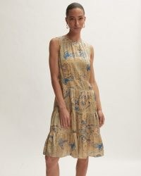 JIGSAW SILK ANTIQUE PAISLEY DRESS / yellow sleeveless tiered hem dresses / women's feminine fashion