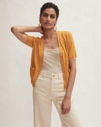 JIGSAW SILK COTTON CARDIGAN YELLOW / womens short sleeve summer cardigans
