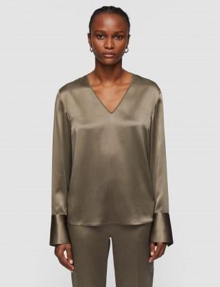 JOSEPH Silk Satin Bella Blouse ~ luxurious fabric long sleeve V-neck tops