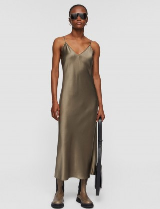 JOSEPH Silk Satin Clea Dress ~ spaghetti strap slip dresses ~ cami straps ~ elegant fluid fabric fashion - flipped