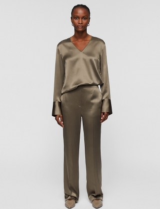 joseph Silk Satin Tova Trousers ~ womens lightweight fluid fabric trousers ~