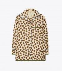 TORY BURCH SILK TWILL BUTTON-DOWN SHIRT FLORAL DOT / womens printed pyjama style shirts
