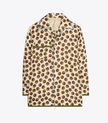 TORY BURCH SILK TWILL BUTTON-DOWN SHIRT FLORAL DOT / womens printed pyjama style shirts - flipped