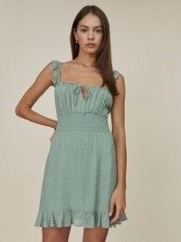 REFORMATION Silvia Dress in Verine / sleeveless polka dot print ruffle trim dresses / smocked waist