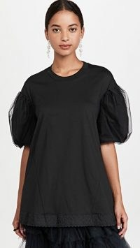 Simone Rocha A-Line T-Shirt with Tulle Overlay Sleeve Black | romantic puff sleeve tee | womens feminine t shirts