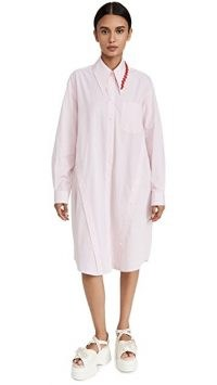 Simone Rocha Masculine Shirtdress with Button Placket Detail / womens longline cotton shirt dresses