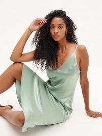 Reformation Sofia Dress in Celadon | midi length slip dresses