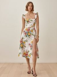 REFORMATION Spaulding Linen Dress in Chantilly / floral square neck ruffle trim dresses / thigh high split