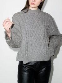 Stella McCartney Aran stitch oversized jumper light grey melange | womens chunky side slit dip hem jumpers