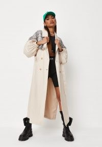MISSGUIDED stone check mix balloon sleeve trench coat ~ longline belted coats ~ womens on trend outerwear