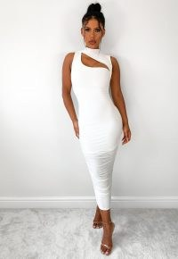 MISSGUIDED tall white slinky high neck cut out midaxi dress ~ glamorous going out dresses ~ on trend evening glamour