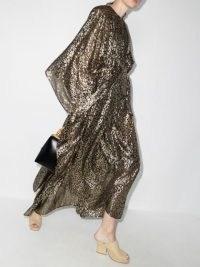 Taller Marmo Sahara rain long sleeve dress black and gold | womens glamorous party fashion | metallic wide sleeve maxi dresses