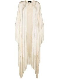 Taller Marmo ivory tassel-trim fringed jacquard cape ~ longline tasseled evening capes ~ womens luxe event outerwear
