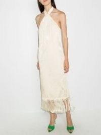 Taller Marmo Volver halterneck dress in ivory | glamorous halter neck tassel hem party dresses | womens evening fashion | occasion glamour