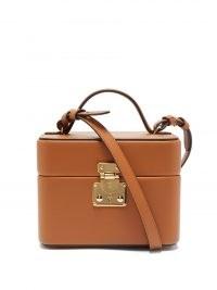 TANNER KROLLE Annabel 18 tan leather box bag ~ light brown boxy shoulder bags ~ chic square top handle handbag ~ womens designer handbags