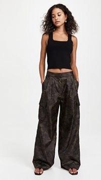 Tibi Tech Camouflage Cargo Pants Army Green / womens lightweight wide leg slouchy trousers / camo prints / casual fashion