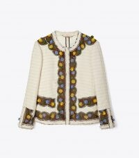TORY BURCH TWEED JACKET NEW IVORY / textured floral hand-crochet trim jackets / womens chic outerwear / frayed edge