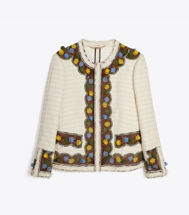 TORY BURCH TWEED JACKET NEW IVORY / textured floral hand-crochet trim jackets / womens chic outerwear / frayed edge - flipped