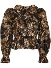 Ulla Johnson KALILA floral ruffle collar long sleeve peplum blouse