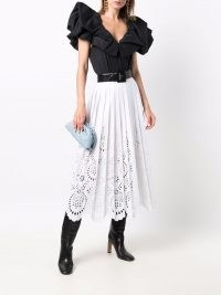 Valentino white eyelet-embroidered pleated skirt ~ lace style skirts