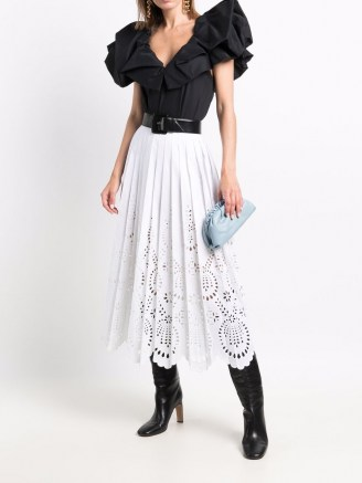Valentino white eyelet-embroidered pleated skirt ~ lace style skirts - flipped