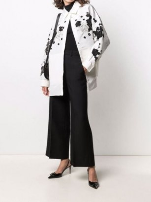 Valentino floral-lace collared jacket ~ womens white and black luxe style jackets