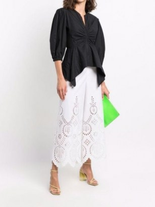 Valentino laser-cut detail cropped trousers ~ womens white lace style trousers - flipped