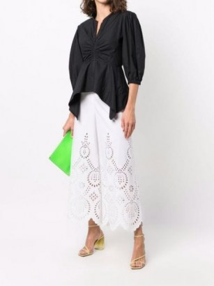 Valentino laser-cut detail cropped trousers ~ womens white lace style trousers