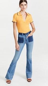 Veronica Beard Jean Florence Flare Colorblock Jeans / womens blue tonal colour block demin fashion / juno