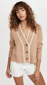 Veronica Beard Trisa Cashmere Cardigan Camel | womens light brown front button cardigans | women's luxe knitwear | shopbop fashion