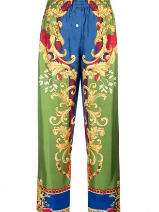 Versace silk baroque-pattern print trousers ~ womens luxe printed trousers - flipped