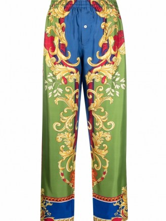 Versace silk baroque-pattern print trousers ~ womens luxe printed trousers