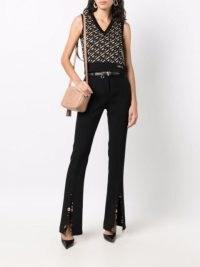 Versace La Greca silk vest   womens knitted tank   womens retro sleeveless tops   vintage style fashion