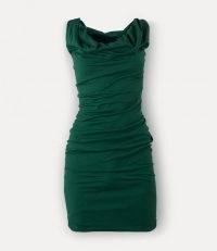 VIVIENNE WESTWOOD GINNIE MINI PENCIL DRESS ~ green fitted gathered detail dresses ~ women designer evening fashion
