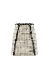 GIAMBATTISTA VALLI Braided bouclé-tweed mini skirt ~ womens French style clothing ~ classic textured A line skirts ~ chic designer fashion ~ women's clothing classic