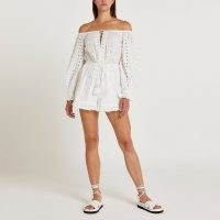 River Island White broderie playsuit   womens cotton off the shoulder summer playsuits