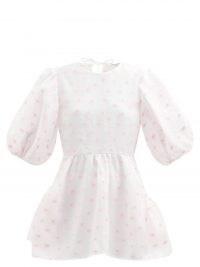 CECILIE BAHNSEN Brooke floral-jacquard blouse | billowing balloon sleeve peplum blouses | romantic style fashion