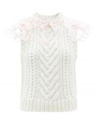 CECILIE BAHNSEN Brynlee tie-collar wool-blend sleeveless sweater | feminine knitted tank | romantic style knitwear