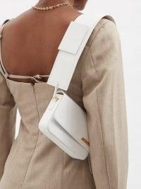 JACQUEMUS Carinu white leather shoulder bag ~ small wide strap handbag ~ chic handbags ~ womens stylish bags