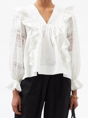 LUG VON SIGA Carla white lace-panel gathered cotton blouse ~ romantic ruffled bogo blouses ~ feminine bohemian fashion - flipped