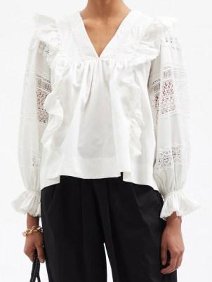 LUG VON SIGA Carla white lace-panel gathered cotton blouse ~ romantic ruffled bogo blouses ~ feminine bohemian fashion
