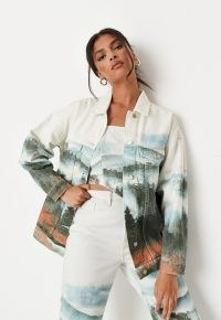 MISSGUIDED white co ord landscape print oversized denim jacket ~ womens casual prinded jackets