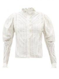 ISABEL MARANT ÉTOILE Darya ruffled white cotton blouse ~ Edwardian inspired blouses ~ womens vintage style fashion