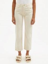 TU ES MON TRESOR Emerald high-rise straight-leg jeans ~ womens ivory denim crop hem trousers