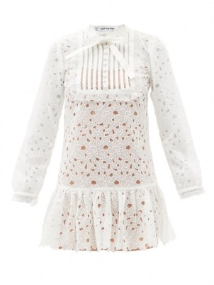 SELF-PORTRAIT White floral guipure-lace bib front mini dress ~ womens tiered hem sheer overlay dresses ~ romantic fashion ~ feminine occasion clothing - flipped