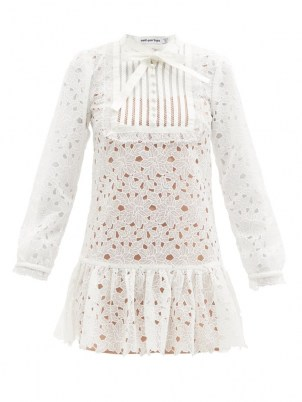 SELF-PORTRAIT White floral guipure-lace bib front mini dress ~ womens tiered hem sheer overlay dresses ~ romantic fashion ~ feminine occasion clothing