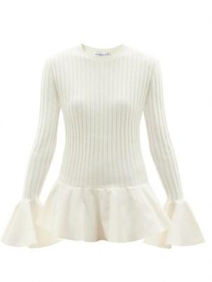 JW ANDERSON Fluted ribbed-knit wool-blend sweater | flared hem sweaters | womens crew neck peplum jumpers | women's feminine knitwear - flipped