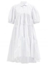 CECILIE BAHNSEN Jade tiered white cotton shirt dress | voluminous summer dresses | romantic look fashion