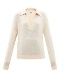 KHAITE Jo V-neck cashmere-blend sweater ~ womens collared open neck sweaters ~ luxe knitwear