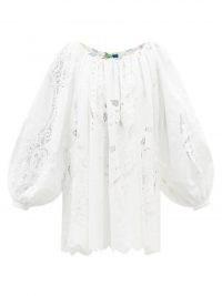 RIANNA + NINA Kendima white embroidered-lace cotton-poplin top ~ womens voluminous long sleeve billowy tops ~ balloon sleeves